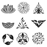 clip art black and white flowers