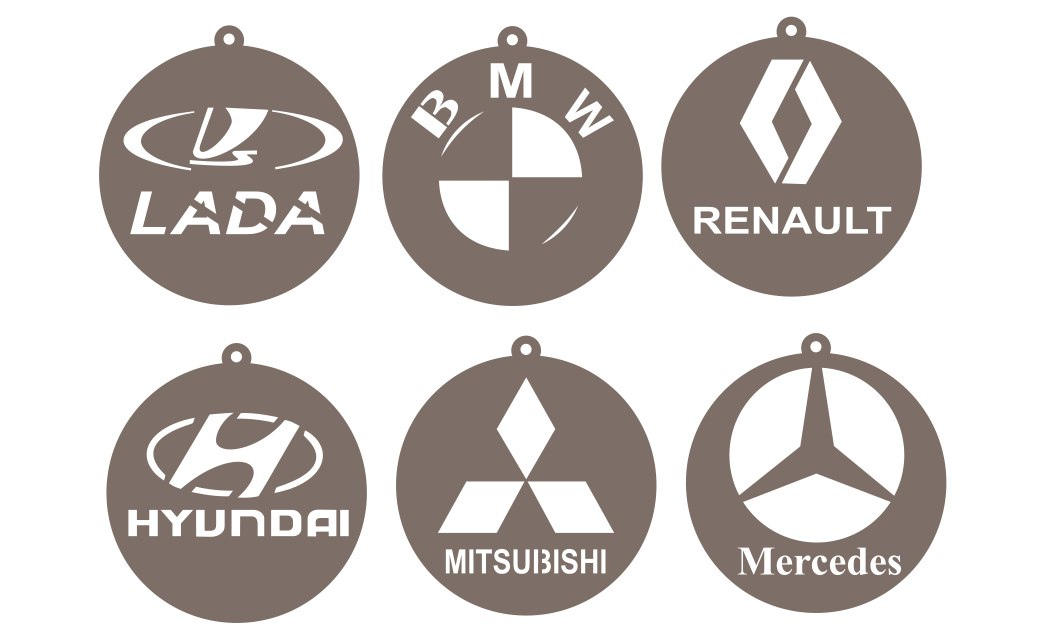 Car logos for bmw, mercedes, mitsubishi, hyundai, renault